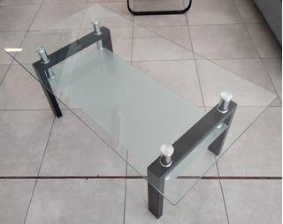 Mesa Ratona De Centro 1.10 X 0.60 Vidrio Negra - Importada
