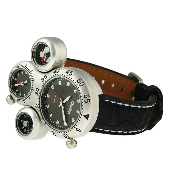 Relógios Militar Oulm Homens Dual Movement Bússola Termômetr