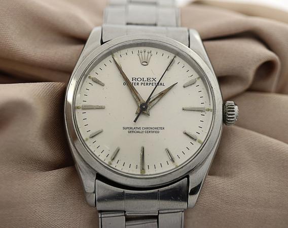 Rolex Masculino Aço Oyster Perpetual Coroa Assinada Relógio
