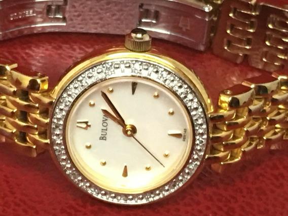 Bulova Madrepérola Diamante Senhoras Relógio De Quartzo Tom
