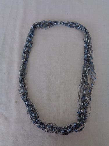 Cordão Tecido Vintage Azul 03*