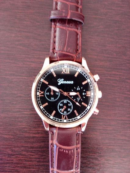 Relógio Masculino De Couro Geneva - Casual - Presente