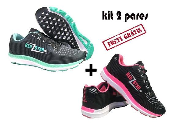 Tênis Feminino Para Caminhada Corrida Academia Kit 2 Pares