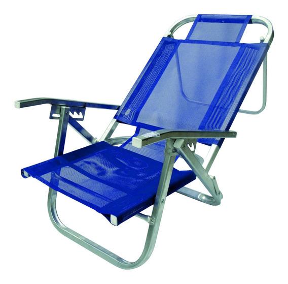Cadeira De Praia Reclinável Copacabana Azul Royal-botafogo