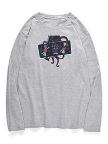Tripulación Neck Pulpo Impreso T -camisa