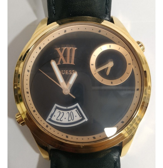 Relógio Guess Pulseira Preta Caixa Dourada