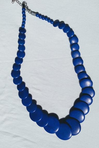Colar De Pedra Howlita Azul Semi Joia Biojoia