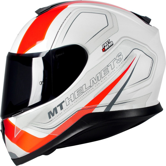Capacete Motociclista Mt Thunder 3 Trace White Orange Gloss