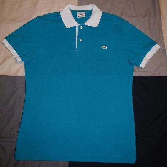 Polo Lacoste - Talla 3 - Azul, Cuello Blanco