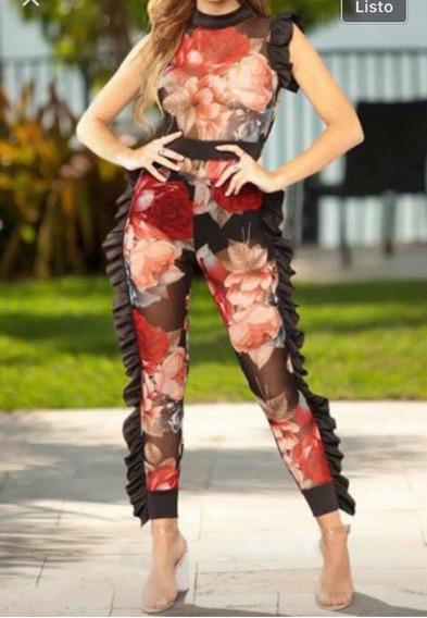 Sexy Jumpsuit Olanes Pantalon Floreado Fiesta Transparencia