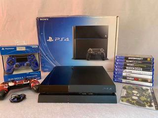 Playstation 4 Impecable En Caja + 11 Juegos + 2 Joysticks