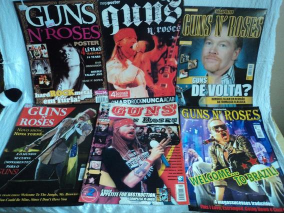 Lote 6 Revistas Poster Guns N Roses Slash Axl