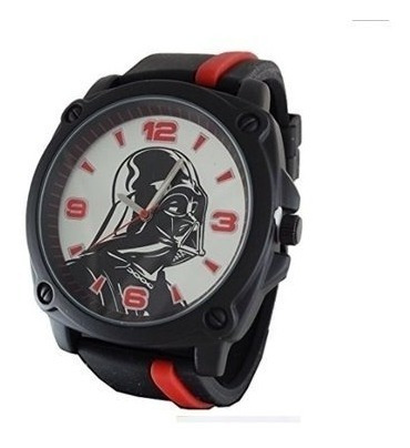 Relógio Darth Vader Pulseira De Silicone Vermelha E Preta