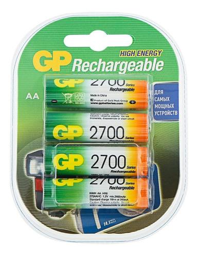 Imagen 1 de 3 de Pilas Recargables Gp Aa 2700mah Pack X4 Febo