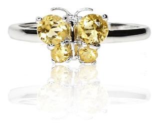 Anillo Citrine Mariposa Design - Oro Blanco - Freewatch