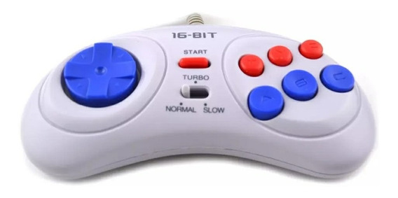 Controle Sega Mega Drive, Genesis #turbo C/ 6 Botões Branco#