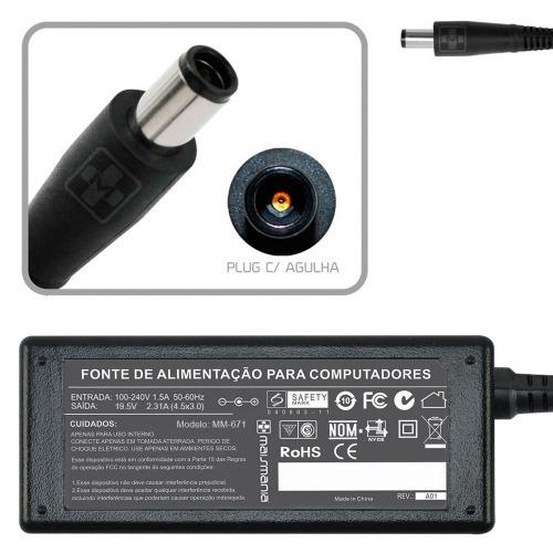 Fonte Para Notebook Dell 19.5v 2.31a Plug. 4.4×3.0mm Mm671