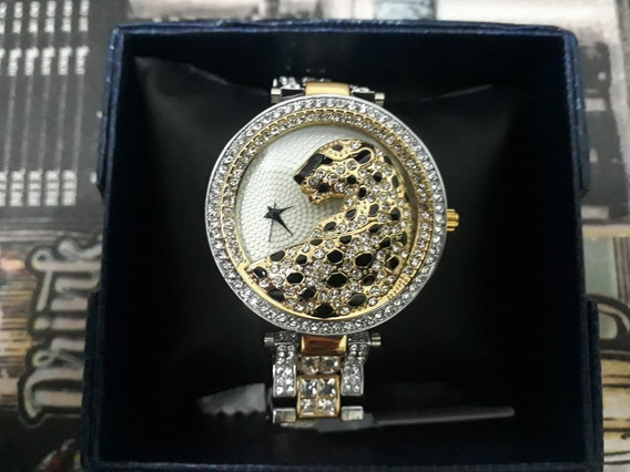Relógio Feminino Quartz Miss Fox Leopardo Pedras Zircônia