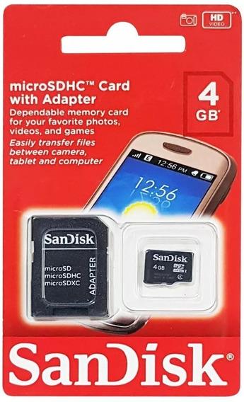 Cartão De Memória Sandisk Micro Sd Classe 4 + Adaptador-4gb