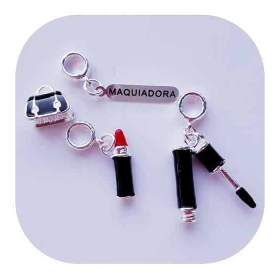 Kit 4 Berloques Charmes Maquiadora P/pulseira Estilo Pandora