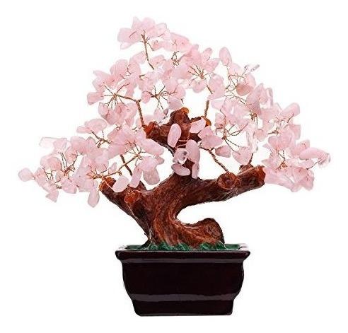 Feng Shui Natural Rose Cristal De Cuarzo Árbol Del Dinero De