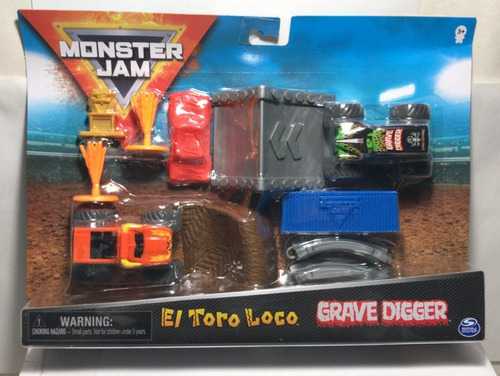 Imagen 1 de 3 de Monster Jam Toro Loco & Grave Digger Pista+ Rampas 58725 Srj