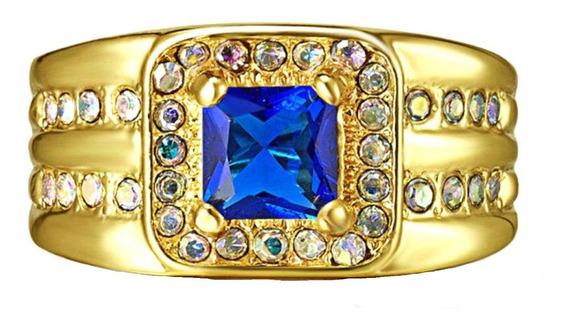 Aro 22 Anel Feminino Cristal Safira Azul 3 Banhos Ouro 763 P