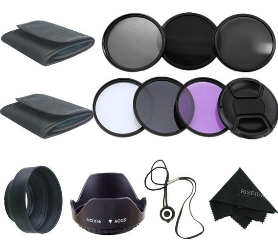 Kit 58mm Filtro Uv Cpl Fld Nd2 Nd4 Nd8 18-55 Canon