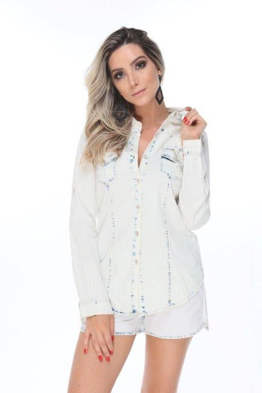 Camisa Blusa Jeans Feminina Clara Manga Longa Promoção