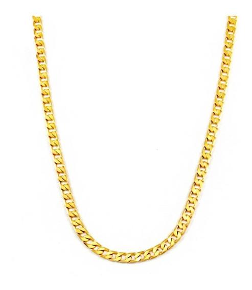 Cordão Banhado A Ouro Dourado 60 Cm 5mm Em Camadas Qm10c