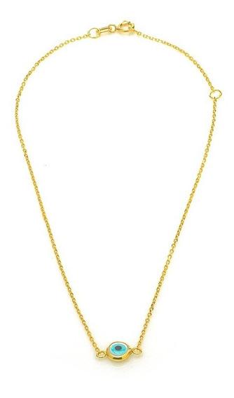 Tornozeleira De Ouro 18k Olho Grego Com 24cm To00168