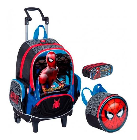 Kit Mochila Escolar Infantil Spiderman Com Rodinha Gde