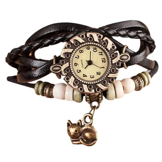 Relógios De Pulso Feminino Gato Couro