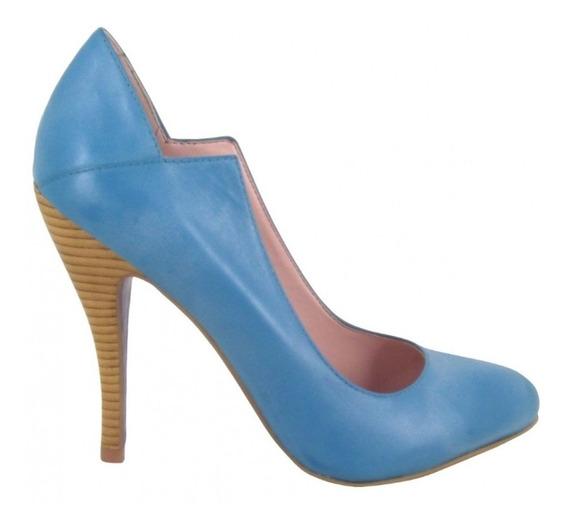 Scarpin Miezko - Salto Alto Fino Em Couro Azul Claro