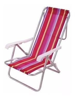 Cadeira Praia Piscina Camping Alumínio 8 Posições Dobrável