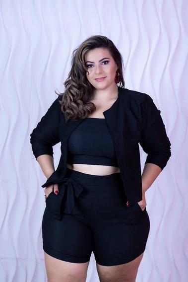 Conjunto Feminino Plus Size Blazer Short E Cropped 46 A 52