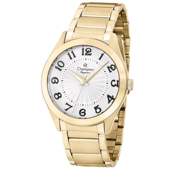 Relógio Feminino Dourado Champion Original Cn25029h