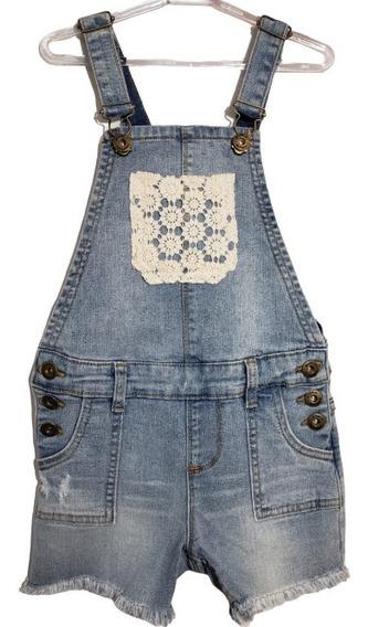 Jardineira Shorts Jeans Bolso Curto Menina Infantil Importad