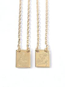 Escapulario Sao Jorge E Sagrado Coracao Folheado Ouro R5028