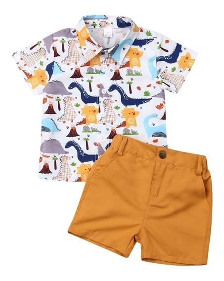 Set Conjunto De Niño Modelo 01 Short Y Camisa Dinosaurios