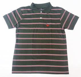 Polo Valmor Masculina Casual Verde Escura Listrada Camisa