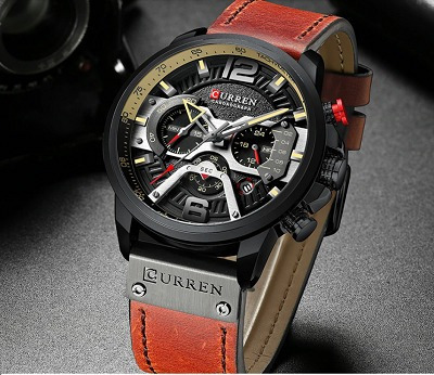 Relógio Masculino Curren Pulseira Couro Original Esportivo