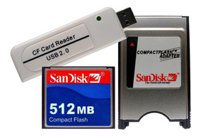 Cf 512 + Leitor Compact Flash Usb + Adaptador Pcmcia Sandisk