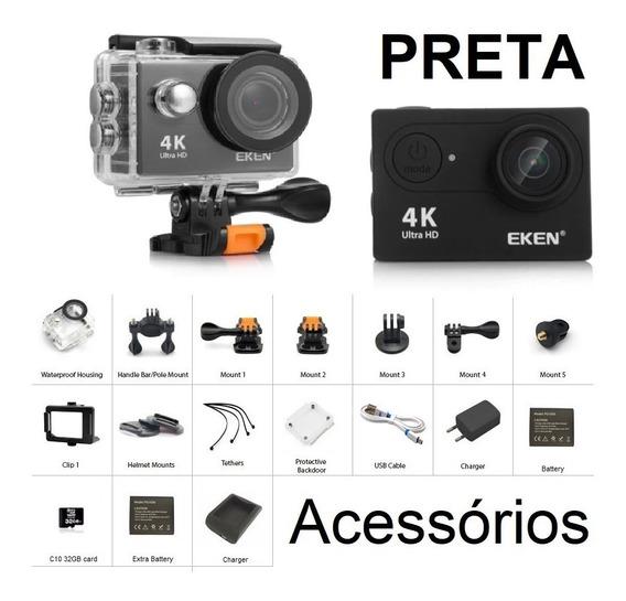 Câmera Eken H9 Hr9 4k Preta + Acessórios
