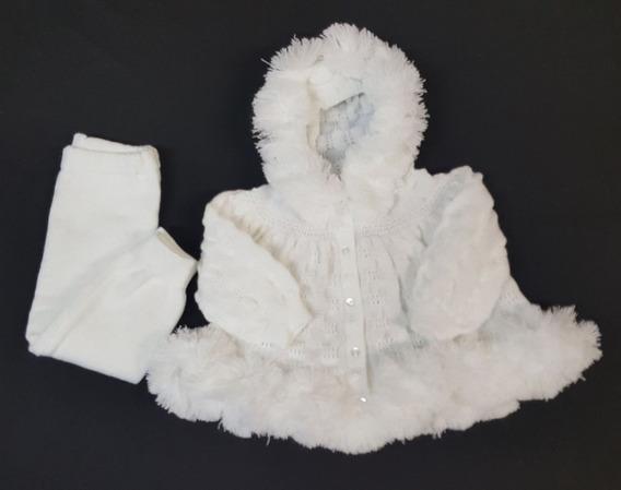 Conj. Eskimó ( Casaco + Calça) Tricot Bebê Off White