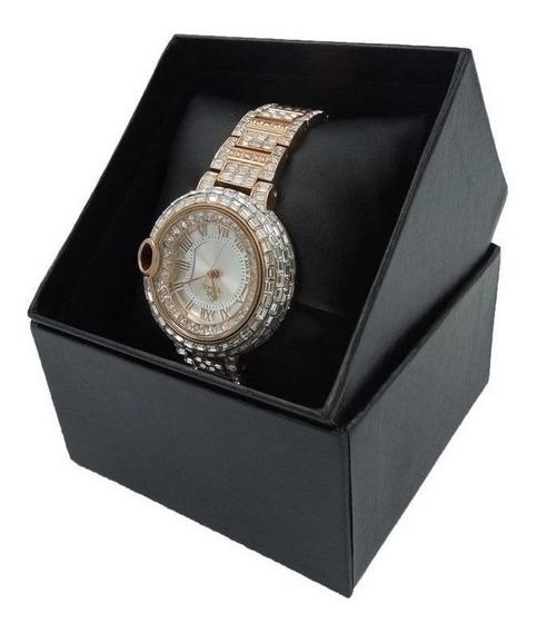 Relógio Dourado Feminino Pulso Cristal Swaroski Japao Quartz