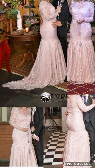 Vestido De Noiva Rosa Nude De Renda Bordado