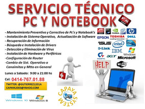 Servicio Técnico Especialzado De Pc, Redes, Software Y Otros