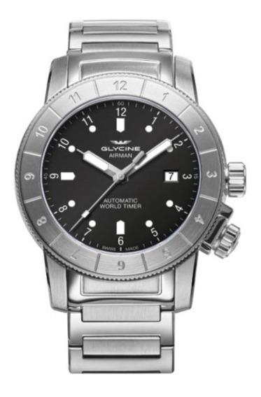 Relógio Glycine Airman Gl0176 Mostrador Preto Em Bracelete