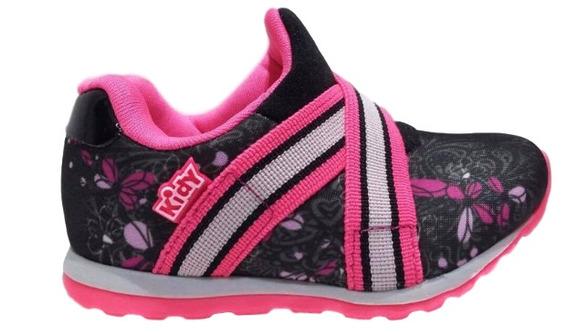 Tenis Infantil Menina Kidy Free Preto Pink Rosa 0306